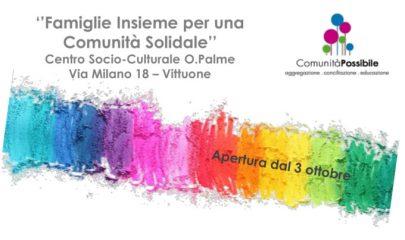 Banner che presenta il ricco calendario di iniziative, laboratori e servizi per le famiglie presso il Centro Socio-Culturale Palme di Vittuone organizzato da Cooperativa Lule