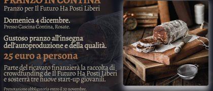 locandina di invito al pranzo di raccolta fondi per La campagna di crowdfunding lanciata da Il Futuro Ha Posti Liberi per sostenere le idee imprenditoriali dei giovani dei territori dell'Abbiatense, Castanese e Corsichese.