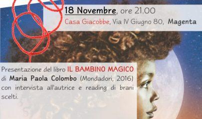 locandina evento di presentazione del libro bambino magico a Magenta con autrice Colombo e dibattito con Lule Onlus sul tema tratta e sfruttamento