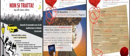 """Locandine che presentano n occasione del 25 novembre """"Giornata internazionale contro la violenza sulle donne"""", Lule Onlus organizza, aderisce e promuove una serie di eventi ed incontri pubblici di sensibilizzazione sul tema."""