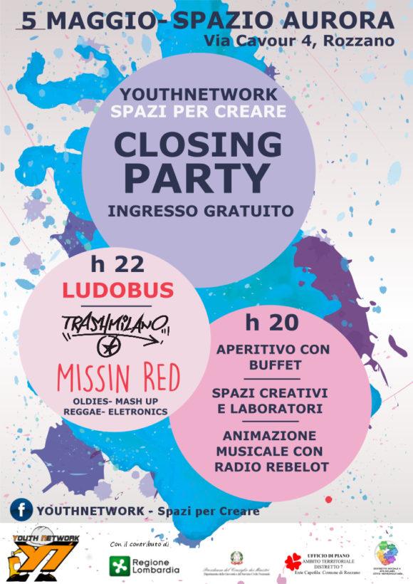 """Evento di chiusura del progetto di politiche giovanili """"Youth Network: spazi per creare"""" con una serata a tutto divertimento allo Spazio Aurora di Rozzano. Trashmilano MissinRed"""