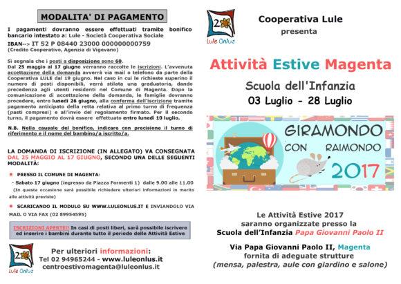 brochure di presentazione del servizio Centri estivi gestito da cooperativa Lule a Magenta per i bambini della scuola dell'infanzia. Pagina 1