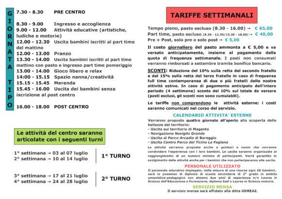 brochure di presentazione del servizio Centri estivi gestito da cooperativa Lule a Magenta per i bambini della scuola dell'infanzia. Pagina 2