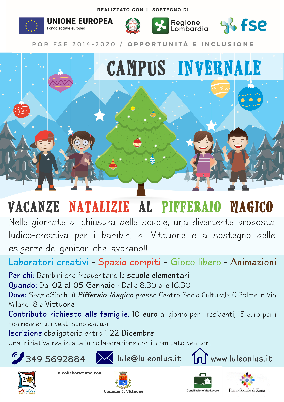 "Lule presenta il ""Campus invernale"" elementari - Vittuone dal 02 al 05 Gennaio"