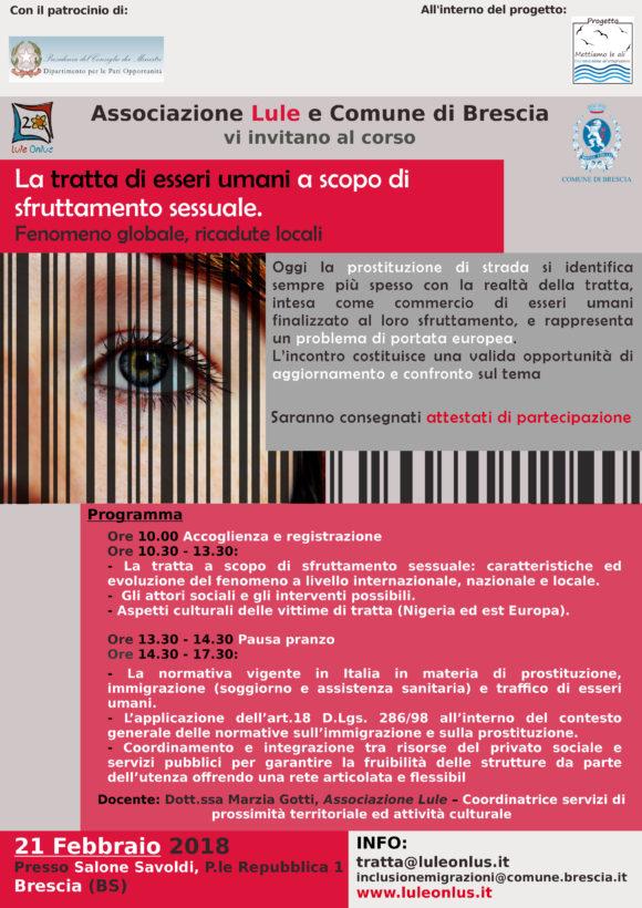 Locandina corso di formazione sul tema tratta a Brescia - Progetto Mettiamo le Ali
