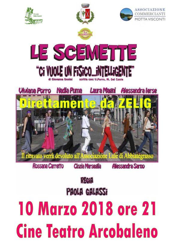Locandina spettacolo Le scemette spettacolo di raccolta fondi a Motta Visconti per Lule Onlus