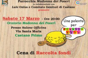 manifesto cena di raccolta fondi per Lule Onlus - Castano polentata