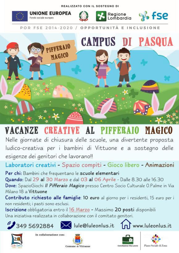 locandina campus di Pasqua presso Pifferaio Magico Vittuone Lule Onlus