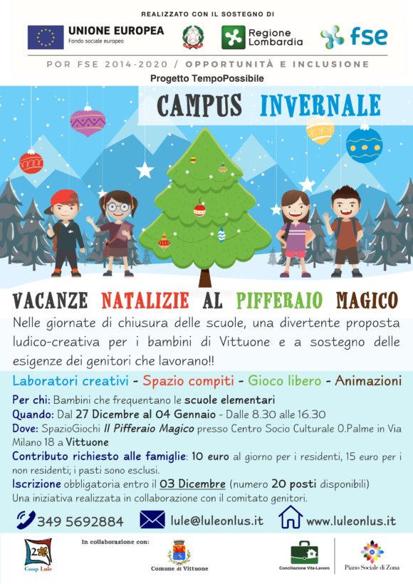 """Lule presenta il """"Campus invernale"""" elementari - Vittuone dal 27 Dicembre al 04 Gennaio"""