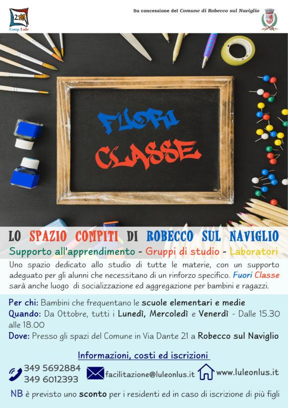 """arriva lo spazio compiti """"Fuori Classe"""" gestito a Robecco sul Naviglio da Coop Lule Onlus Abbiategrasso Milano"""