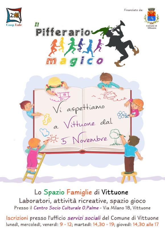 Pifferaio Magico, lo Spazio Famiglie gestito daCooperativa Lule efinanziato dal Comune di Vittuone, con la sua proposta di laboratori, attività ricreative, spazio gioco e molto altro.