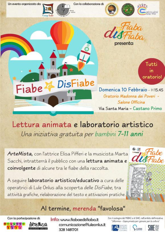 Locandina evento di presentazione raccolta Fiabe e DisFiabe a Castano con letture animate di Artemista