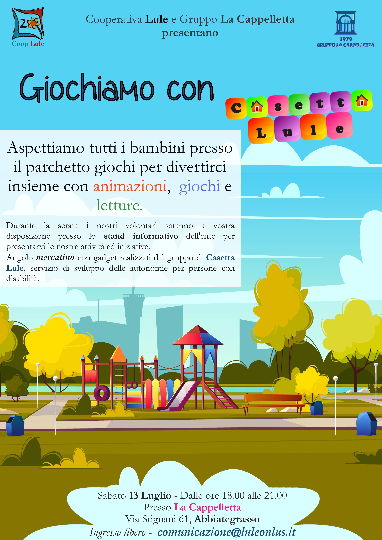 programma attività di Associazione Lule presso Cappelletta di Abbiategrasso per presentare ente e far conoscere Casetta Lule con giochi e animazioni per i più piccoli