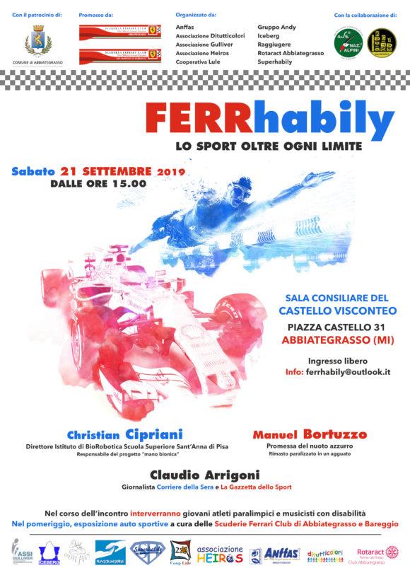 locandina Ferrhabily. incontro con nuotatore Manuel Bortuzzo paralizzato in un agguato. Abbiategrasso settembre 2019. Con Claudio Arrigoni e club Ferrari