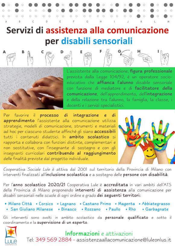 LIS - locandina sostegno assistenza alla comunicazione per disabili sensoriali non vedenti sordi Lule Onlus Milano Città, Corsico, Legnano, Castano Primo, Magenta, Abbiategrasso, San Giuliano Milanese, Binasco, Rozzano, Paullo, Rho, Garbagnate.